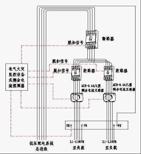 图3 电气火灾监控装置接线示意
