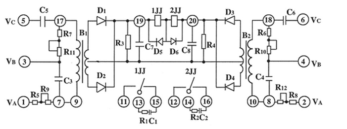 图1 LB-4型原理接线图 正常时正序滤过器分别接到不同的两组PT上,两组滤过器输出电压完全相等,因此执行元件不动作。 当系统发生故障时,无论是接地故障,相间故障,两组正序电压滤过器一次获得的电压完全一致,其输出完全相等,执行元件不动作。 当任一组PT一次或PT二次熔断器熔断后,接到故障PT的正序电压滤过器输出电降低,而接正常PT的正序电压滤过器输出电压高,加在执行元件上有电压差,故执行元件动作,对保护实行闭锁作用。 继电器采用了插入抽取式的结构,正面有透明的盖子这样便于使用和维护,不必停电就能进行调试